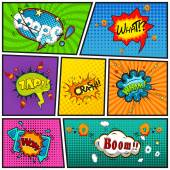 Comic speech bubbles background divided by lines vector — Stock vektor