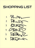 Shopping list with six items on beige paper — Stockvektor