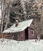 Beautiful  winter landscape with  wooden  house in winter covere — Stockfoto