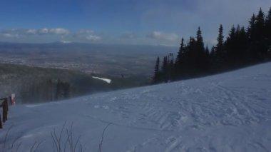 Windy winter day on the ski track  of Vitosha mountain, Sofia, Bulgaria — ストックビデオ