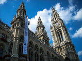 Rathaus in wien and dramatic sky in the background — Stock Photo