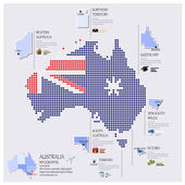 Dot And Flag Map Of Australia Infographic Design — Stock Vector
