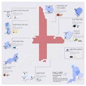 Карта Dot и флаг Англии инфографики дизайн — Cтоковый вектор
