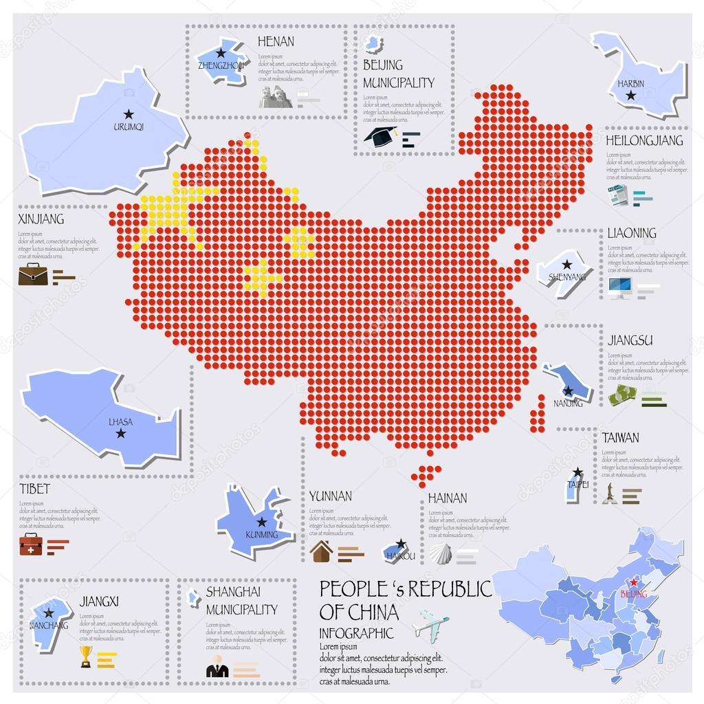 点和国旗地图的中国信息图表设计 — 图库矢量图像