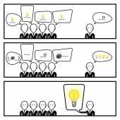 Comunicação de bolha do discurso com empresário na história de três caixa — Vetor de Stock