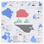 Dot And Flag Map Of Republic Of Iraq Infographic Design — Stock Vector
