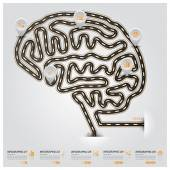 Дорога и улица мозга форму движения знак бизнес инфографики — Cтоковый вектор