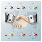 Hand Shake Three Dimension Polygon Business Infographic — Stock Vector