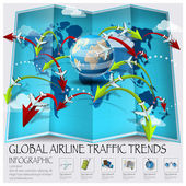 World Map Of Global Airline Traffic Trends Infographic — Stock Vector