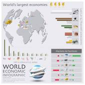 Map Of The World Economic Infographic — Stok Vektör