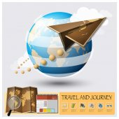 Travel And Journey World Map Infographic — Stock Vector