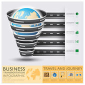 Global Road And Street For Travel And Journey Business Infograph — Stockvector