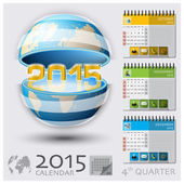 Fourth Quarter Of 2015 Calendar Global Map — Stock Vector