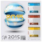 Second Quarter Of 2015 Calendar Global Map — Stock Vector