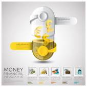 Pill Capsule Money And Financial Business Infographic — Stock Vector