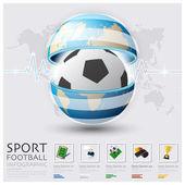 Küresel futbol ve spor Infographic — Stok Vektör