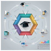 Education And Graduation Infographic With Hexagon Diagram — Stock Vector