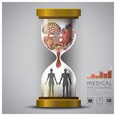Sandglass Health And Medical Human Organ Infographic — Stock Vector