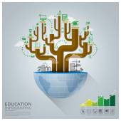 Global Education With Tree Diagram Creative Concept Infographic — Stock Vector