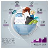 Global Communication And Connection Infographic With Round Circl — Vector de stock