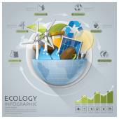 Global Ecology And Energy Infographic With Round Circle Diagram — Wektor stockowy