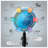Global Business And Financial Infographic With Magnifying Glass  — Stock Vector