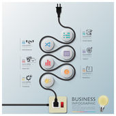Curve Electric Wire Line Diagram Business Infographic — Stock Vector