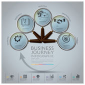 Business Journey Infographic With Magnifying Glass Round Circle  — Stock Vector
