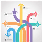 Business Journey With Global Airline Infographic Diagram — Stock Vector