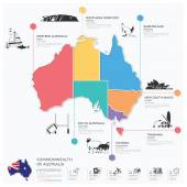 Commonwealth Of Australia Landmark Business And Travel Infograph — Stock Vector