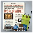 Travel And Journey Newspaper Lay Out With Magnifying Glass, Bino — Vetor de Stock  #63568885