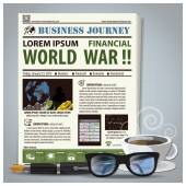 Business Journey Newspaper Lay Out With Pen, Glasses, Coffee — Stock Vector