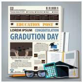 Education And Graduation Newspaper Lay Out With Pencil, Glasses, — Vetor de Stock
