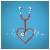 Heart Shape Stethoscope Valentine's Day Background — ストックベクタ