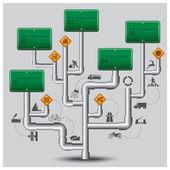 Дорога и улица движения знак бизнес инфографики — Cтоковый вектор