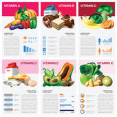 Health And Medical Vitamin Chart Diagram Infographic — Stock Vector