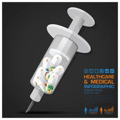 Healthcare And Medical Vitamin Pill Capsule With Syringe Infogra — Stock Vector