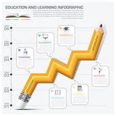 Education And Learning Infographic Pencil Graph Step — Vetor de Stock