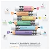 Education And Learning Infographic Subject Of Pencil Step Diagra — Stock Vector