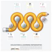 Education And Learning Step Infographic With Curve Pencil Diagra — Stock Vector