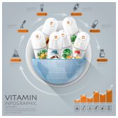Global Medical And Health Infographic With Round Circle Vitamin — Stock Vector