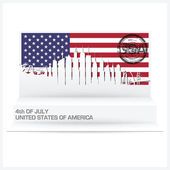 Fourth Of July Paper Pop Up Card — Stock Vector