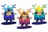 Cartoon cute monsters set. — Stock Vector