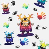 Cartoon cute monsters pattern. — Stock Vector