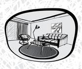 Living room interior sketch. — Stock Vector