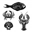 Vector Set of Sketch Sea Food — Stock Vector #62284143