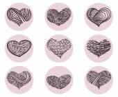 Hearts Vector Icon Set — Stock Vector