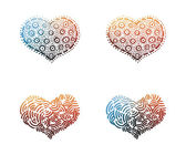 Vibrant colorful hearts shapes. — Stock Vector