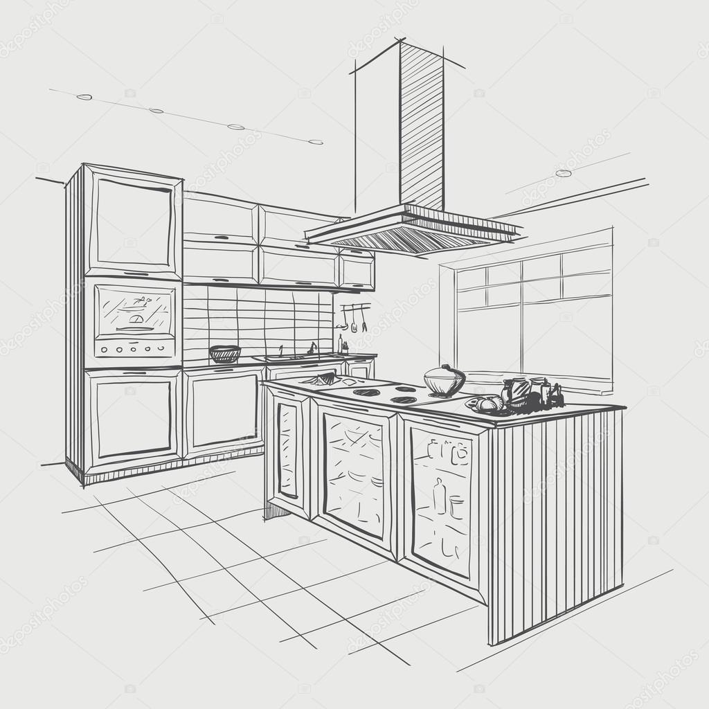 Interior sketch of modern kitchen with island stock for Interior designs kitchen sketches