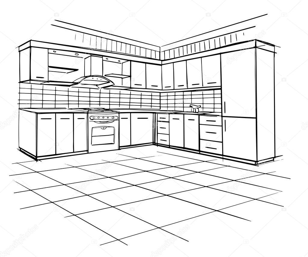 코너 주방의 현대적인 인테리어 스케치 — 스톡 벡터 © AVD_88 #74264391
